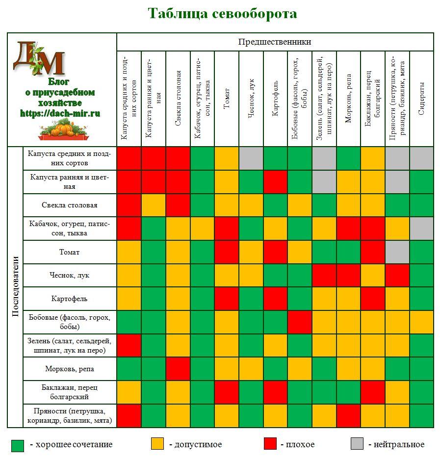 Что за чем сажать таблица 36
